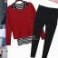 PreOrderไซส์ใหญ่ - เซตคู่ 3 ชิ้นไซส์ใหญ่ เสื้อกล้าม เสื้อแขนยาว กางเกงขายาว เหมาะกับหน้าหนาวบ้านเรา สี : สีแดง / สีดำ thumbnail 1
