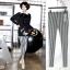 ++สินค้าพร้อมส่งค่ะ++กางเกงแฟชั่น legging ขายาวเกาหลี ผ้า Stretch large ยืดหยุ่นดีมาก ลายริ้ว สไตล์ harajuku – สีขาว/ดำ thumbnail 1