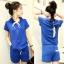 ++สินค้าพร้อมส่งค่ะ++Sport set เกาหลี เสื้อ Jacket แขนสั้น มี hood แต่งแถบที่ไหล่ กระเป๋าสองข้าง+กางเกงขาสั้น มี 3 สีค่ะ – สีน้ำเงิน thumbnail 1