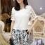 PreOrderไซส์ใหญ่ - เซตคู่เสื้อกางเกงสามส่วน ไซส์ใหญ่ เสื้อดีไซด์แขนสั้น และกางเกงสามส่วน สไตล์เกาหลี สี : ขาว+กางเกง / ดำ+กางเกง thumbnail 2
