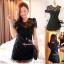 ViVi+สินค้าพร้อมส่งค่ะ++ ชุดเดรสเกาหลี สั้น คอกลม ดีไซด์เจ้าหญิง ผ้าลูกไม้ด้านหน้า ด้านหลังเป็นผ้าสีพื้น มีซับใน สวยมากค่ะ- สีดำ thumbnail 1
