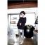 ++สินค้าพร้อมส่งค่ะ++กางเกงแฟชั่น legging ขายาวเกาหลี ผ้า Stretch large ยืดหยุ่นดีมาก ลายริ้ว สไตล์ harajuku – สีขาว/ดำ thumbnail 3
