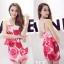 ++สินค้าพร้อมส่งค่ะ++ ชุดเซ็ทเกาหลี เสื้อสายเดี่ยว ผ้า cotton เนื้อหนาพิมพ์ลายดอกไม้+กระโปรงเข้ารูปช่วงสะโพก – สี Red Rose thumbnail 1