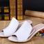 Pre Order - รองเท้าแฟชั่น ส้นสูง 1 นิ้ว หนัง PU สไตล์เรียบง่าย สี : สีขาว / สีม่วง thumbnail 4