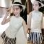 ++สินค้าพร้อมส่งค่ะ++ชุดเซ็ทแฟชั่นเกาหลี เสื้อคอกลม แขนกุด พิมพ์ Chanel ต้นคอ+กางเกงขาสั้น ลายริ้วตัวเก๋ขากว้าง น่ารัก – สีขาว thumbnail 1