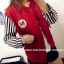 ++สินค้าพร้อมส่งค่ะ++เสื้อ jacket เกาหลี คอปก แขนยาว ผ้าฝ้าย+ผ้ายีนส์เนื้อดี แต่งปัก Rockey 52 เก๋ด้วยแขนลายริ้ว สไตล์ harajuku – สีแดงเลือดหมู thumbnail 3