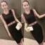 ++สินค้าพร้อมส่งค่ะ++ ชุดเซ็ทเกาหลี เสื้อคอกลม แขนเต่อ ดีไซด์เก๋ ผ้า knit ทอลาย Mochino รอบแขนและเอว – สีดำ thumbnail 1