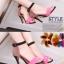 Pre Order - รองเท้าแฟชั่น ส้นสูง รัดข้อหุ้มส้น เป็นหนังกำมะหยี่ สี : สีแดงน้ำตาล / สีส้ม thumbnail 5