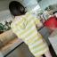 ++สินค้าพร้อมส่งค่ะ++ชุด sport set เกาหลี เสื้อแขนสั้น มี hood ผ้า cotton พิมพ์ลายริ้ว+กระโปรงสั้น เอวจั้มแบบยางยืด – สีเหลือง thumbnail 5
