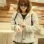 ++สินค้าพร้อมส่งค่ะ++ jacket เกาหลี แขนยาว มี hood มีซับในลายริ้วน่ารัก ผ้า cotton sweater เนื้อหนา สกรีนลายการ์ตูน - สีเทา thumbnail 7
