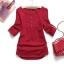 Pre Order - เสื้อแฟชั่น เสื้อคอกลม ติดกระดุมที่หน้าอก พับแขนเก็บได้ สี : สีน้ำเงิน / สีแดง / สีขาว thumbnail 3