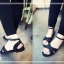 Pre Order - รองเท้าแฟชั่น สไตล์ยุโรปอเมริกา สายรัดสีดำ ติดหมุดตามสาย สีดำ thumbnail 6
