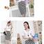++สินค้าพร้อมส่งค่ะ++ชุดเดรสเกาหลี แขนสั้น ผ้าสีพื้นติดต่อผ้าลายริ้ว เอวจั้มนิดๆ ปักดีไซด์กลาสีที่อก ใส่สบาย - สีขาว thumbnail 4