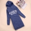 Qian Yi *Pre-order*เสื้อกันหนาวไซส์ใหญ่ แขนยาว มีฮูท แต่งกระเป๋า 2 ข้าง -สีดำ สีฟ้า thumbnail 1