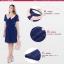 ++เสื้อผ้าไซส์ใหญ่++ QLX *พร้อมส่ง* ชุดเดรสเกาหลีไซส์ใหญ่แขนสั้นจับเดรปสวยเก๋ผ้าชีฟองสีน้ำเงินแต่งปกสีส้ม+ระบาย 3 ชั้นด้านหน้ากระโปรงจับจีบบางๆพริ้วสวยค่ะ (L,2XL) thumbnail 5