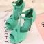 Pre Order - รองเท้าแฟชั่นสไตล์โรมัน สาวทันสมัย สีและทรงสวย ส้นสูง 12.5cm สี : สีดำ / สีเขียว / สีชมพู thumbnail 10