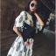 ++สินค้าพร้อมส่งค่ะ++ชุดเซ็ทเกาหลี เสื้อคอกลม ปลายแขนบาน เอวลอยเก๋+กระโปรงสั้น ขอบเอวยืด ผ้า cotton blend พิมพ์ลายน่ารัก – สี Beige thumbnail 5