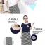 ++สินค้าพร้อมส่งค่ะ++ ชุดเดรสเกาหลี ยาว แขนกุด ผ้าลายริ้วด้านหน้า ด้านหลังสีพื้น ดีไซด์เก๋ เนื้อผ้าดี น่าสวมใส่ค่ะ - สีน้ำเงิน thumbnail 3