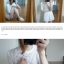 ++สินค้าพร้อมส่งค่ะ++ ชุดเซ็ทเกาหลี เสื้อแขนสามส่วน คอกลม ผ้า knitted mesh เนื้อดีมีซับใน+กางเกงขาสั้น ขอบเอวยืด ดีไซด์ Retro มี 2 สีค่ะ – สีขาว thumbnail 5