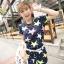 ++สินค้าพร้อมส่งค่ะ++ ชุดเซ็ทแฟชั่นเกาหลี เสื้อแขนสั้น ผ้า spandex พิมพ์ลายดาว + กางเกงขาสั้น+เช็มขัด 1 เส้น – สี Dark Blue thumbnail 7
