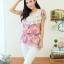 Qian Yi *Pre-order*เสื้อไซส์ใหญ่ แขนตุ๊กตา คอกลมแต่งลูกไม้ จํ้มเอว ลายดอกไม้สวยหวาน - สีชมพู สีเขียว thumbnail 2