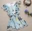 ++เสื้อผ้าไซส์ใหญ่++ * Pre-Order* ชุดเดรสเกาหลีไซส์ใหญ่แขนระบายผ้าชีฟองสีฟ้าพิมพ์ลายดอกไม้และผีเสื้อสีสดใสติดยางยืดเอว thumbnail 5