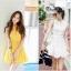 Cherry KoKo ++สินค้าพร้อมส่งค่ะ++ ชุดเดรสเกาหลี แขนกุด สไตล์คอปีนติดกระดุมที่คอเสื้อ กระดุมหน้า เดรสย้วยทรงวงกลม มีสายผูกเอว น่ารัก - สีขาว (Size: M) thumbnail 2