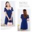++เสื้อผ้าไซส์ใหญ่++ QLX *พร้อมส่ง* ชุดเดรสเกาหลีไซส์ใหญ่แขนสั้นจับเดรปสวยเก๋ผ้าชีฟองสีน้ำเงินแต่งปกสีส้ม+ระบาย 3 ชั้นด้านหน้ากระโปรงจับจีบบางๆพริ้วสวยค่ะ (L,2XL) thumbnail 4