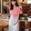 ++สินค้าพร้อมส่งค่ะ++ชุดเดรสแฟชั่นเกาหลี ชุดเดรส 2 ชั้น ชิ้นในเป็นเดรสแขนกุดตัดต่อชั้นนอกเสื้อโชว์ไหล่ รูดเอวได้ – สีชมพูอมส้ม thumbnail 5