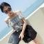 ++สินค้าพร้อมส่งค่ะ++ ชุดแฟชั่น Jumpsuit กางเกงขาสั้นเกาหลี คอเสื้อสไตล์เกาะไหล่ ผ้าฝ้านเยื้อดีพิมพ์ลายเส้น เอวจั้มแบบยางยืด – สีเทา thumbnail 6