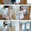 ++สินค้าพร้อมส่งค่ะ++ ชุดเซ็ทเกาหลี เสื้อแขนสามส่วน คอกลม ผ้า knitted mesh เนื้อดีมีซับใน+กางเกงขาสั้น ขอบเอวยืด ดีไซด์ Retro มี 2 สีค่ะ – สีขาว thumbnail 3