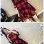 ++สินค้าพร้อมส่งค่ะ++ ชุดแฟชั่นเซ็ทเกาหลี เสื้อคอกลม แขนห้าส่วน แต่งปลายแขน trumpet เก๋ ผ้า woolen เนื้อดีมากค่ะทอลาย Grid+กระโปรงครึ่งวงกลม – สีแดง thumbnail 2