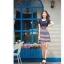 TOTO ++สินค้าพร้อมส่งค่ะ++ ชุดเดรสสั้น ดีไซด์กลาสี ผ้าสีพื้นตัดต่อลายริ้ว มีปักที่หน้าอก น่ารักมาก - สีน้ำเงิน thumbnail 4