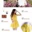 Cherry KoKo ++สินค้าพร้อมส่งค่ะ++ ชุดเดรสเกาหลี แขนกุด สไตล์คอปีนติดกระดุมที่คอเสื้อ กระดุมหน้า เดรสย้วยทรงวงกลม มีสายผูกเอว น่ารัก - สีขาว (Size: M) thumbnail 4