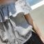++สินค้าพร้อมส่งค่ะ++ ชุดแฟชั่น Jumpsuit กางเกงขาสั้นเกาหลี คอเสื้อสไตล์เกาะไหล่ ผ้าฝ้านเยื้อดีพิมพ์ลายเส้น เอวจั้มแบบยางยืด – สีเทา thumbnail 7