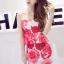 ++สินค้าพร้อมส่งค่ะ++ ชุดเซ็ทเกาหลี เสื้อสายเดี่ยว ผ้า cotton เนื้อหนาพิมพ์ลายดอกไม้+กระโปรงเข้ารูปช่วงสะโพก – สี Red Rose thumbnail 4