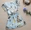 ++เสื้อผ้าไซส์ใหญ่++ * Pre-Order* ชุดเดรสเกาหลีไซส์ใหญ่แขนระบายผ้าชีฟองสีฟ้าพิมพ์ลายดอกไม้และผีเสื้อสีสดใสติดยางยืดเอว thumbnail 6