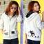++สินค้าพร้อมส่งค่++ Jacket เกาหลี แขนยาว มี hood สองชั้น ลาย น้องแมวหน้าหลังน่ารัก สีเทา thumbnail 1